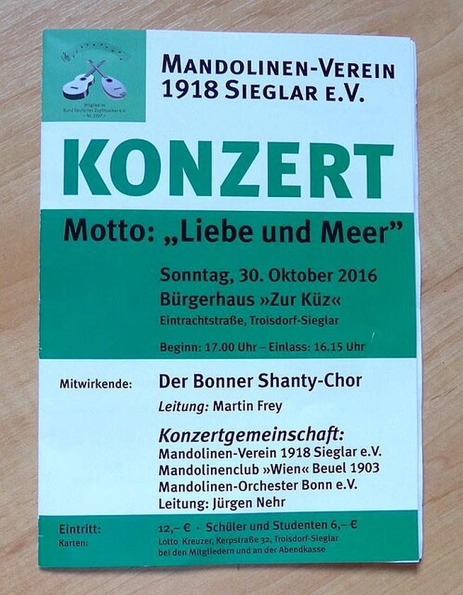 """2016: Plakat für das Gemeinschaftskonzert """"Liebe und Meer"""""""