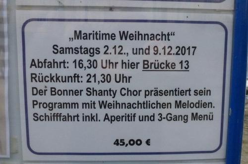 """2017: Ankündigung der Ausflugsfahrt """"Maritime Werihnacht"""" (Foto: Manfred Weiler)"""