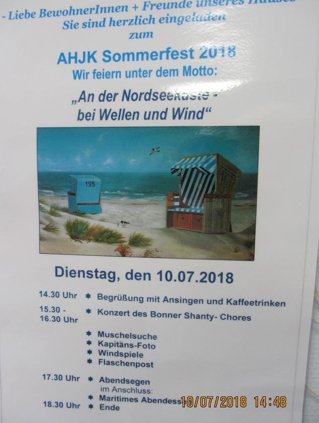 2018: AHJK-Sommerfest - Plakat (Foto: Harald Sommershof)